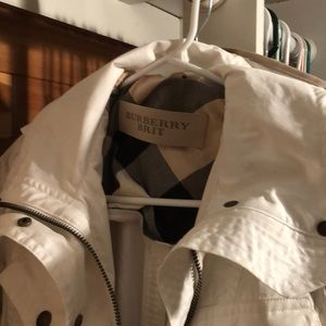 White mini Burberry Trench style Coat